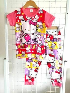 Pyjamas Short Sleeve HELLO KITTY BEAR Salmon Pink (Kids 2 -8)