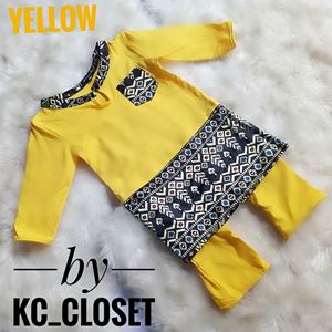 BAJU MELAYU ROMPER / JUMPER WITH ATTACHED SAMPIN ( YELLOW)