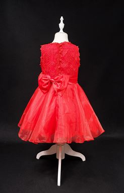 #L108 RED GIRLS CHIFFON DRESS WITH LACE