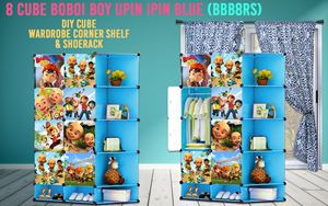 Boboiboy & Upin Ipin Blue 8C DIY Cube w Corner Rack & Shoerack (BBB8RS)