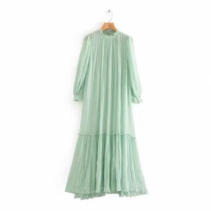 BUBBLE CHIFFON LIGHT GREEN DRESS