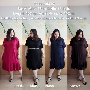 9250 Ready Stock *Bust/Waist 58 inch (can stretch up to 80 inch)
