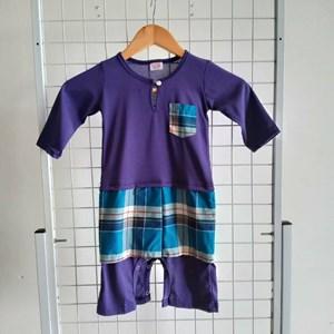 Baju Melayu Rompers, 18-24m, Purple with Blue Checkered Sampin