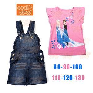 Frozen Overall Pink Set - T shirt+Denim overalls - 2pcs set
