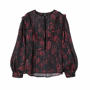BLACK AND RED ROUND NECK PRINTED TOP