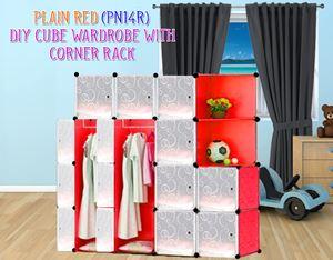 Plain Red 14C Diy Wardrobe With Corner Rack (PN14RC)