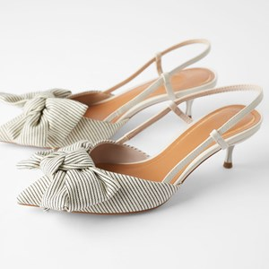 Nude Color Summer Bow Decoration Low Heels