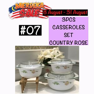 MERDEKA SALE #07 - 3PCS CASSEROLE SET (COUNTRY ROSE)