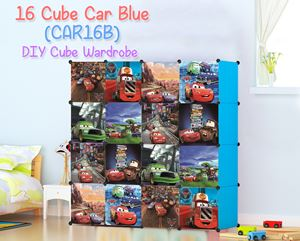 Car Blue 16 Cube DIY Wardrobe (CAR16B)