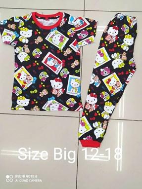 Pyjamas HELLO KITTY FRAME BLACK :  BIG Size 12 -18