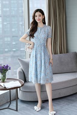 Blue Chiffon Floral Dress