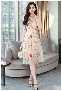 Apricot Fairy Floral Chiffon Dress