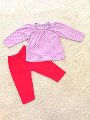 [SIZE 6/9M - 12/18M] Baby Girl Set : Purple Pattern with Pink Pant