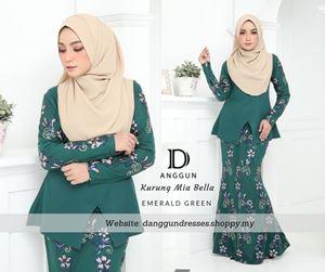 Kurung Mia Bella Emerald Green