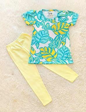 Girl Set : TROPICAL GREEN WHITE WITH LIGHT YELLOW PANT (1y - 8y) SDM