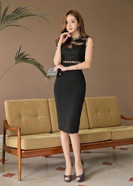 Korean Version-Black Stitching Lace Dress