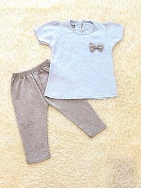 [SIZE 24/30M - 30/36M] Baby Girl Set : TEDDY BEAR SOFT BLUE WITH GREY PANT (12m - 36m) SDM