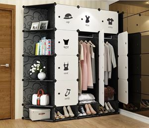 BKW12SC Modern Living BlackWhite DIY Cabinet Wardrobe (47cm Depth x 35cm x 35cm) Free*UtilityHanger*