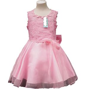 #L108  SOFT PINK GIRLS CHIFFON DRESS WITH LACE