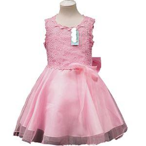 @  L108  SOFT PINK GIRLS CHIFFON DRESS WITH LACE