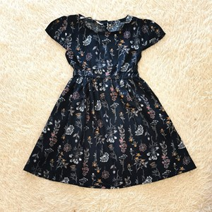 [SIZE 12M , 4Y - 6Y] Baby and Kids Dress MIX DANDELION FLOWER GREEN BLACK Brand KF