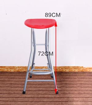 Round Folding Chair Breakfast Kitchen Bar Stool Furniture Compact High Chair ( Color:Red )