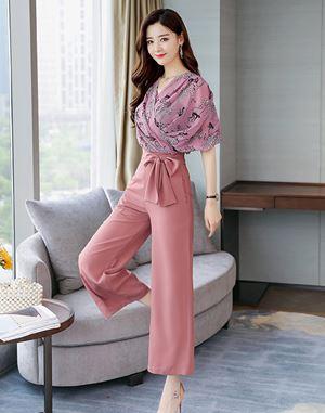 Two-piece Suit (Floral Chiffon Top + Pants)
