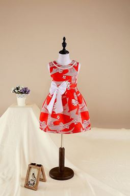 CLEARANCE SALE RED FLOWER GIRL DRESSES+PEARL NECLACE