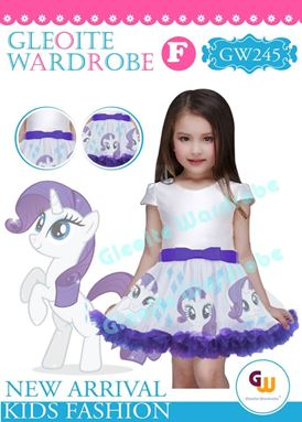 @  GW 245 DRESS  { F ~ PONY  WHITE }  ( SZ 2Y - 13Y )