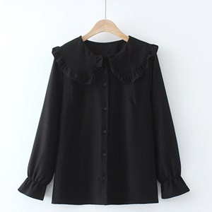 Oversized Blouse with Ruffled Collar (Black)