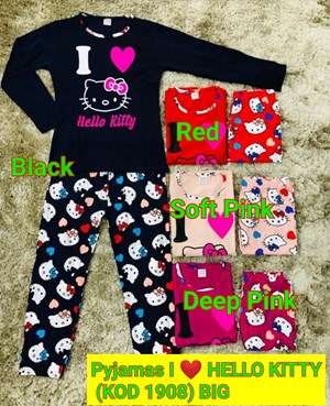 Pyjamas I LOVE HELLO KITTY (big) Kod 1908 (Big Size) 9y-14y