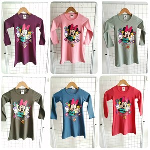 T-Shirt Girl Long Sleeve Minnie Mouse Flower: Size 2-8 (1 - 6 tahun)