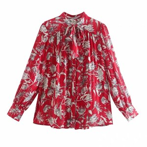 FLORAL PRINTS RIBBON RED TOP