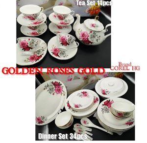 COMBO COREL-HG 34PCS DINNER SET + 14PCS TEA SET (GOLD LINING) - GOLDEN ROSES GOLD
