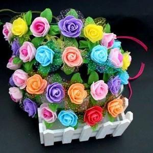 Large Flowers Garland Headband