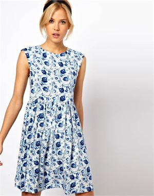 Smock Dress in Blue Floral