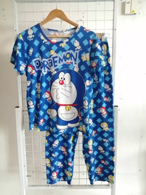 Pyjamas Dewasa Short Sleeve Doraemon Mix Color Blue