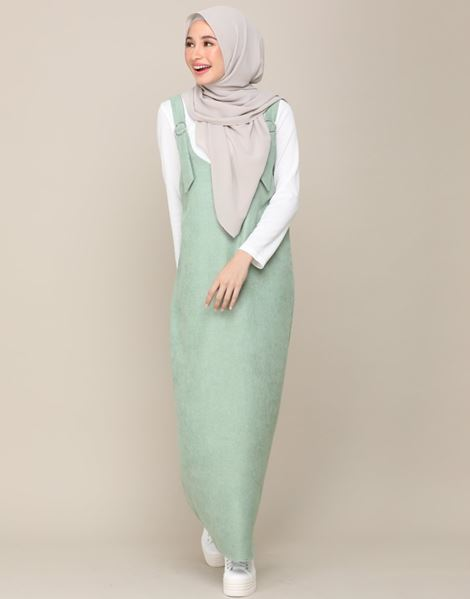 SOPHIA OVERALL DRESS IN DUSTY OLIVE GREEN