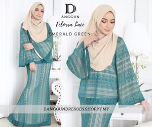 Kurung Felorra Lace Emerald Green