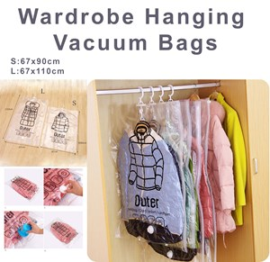 Wardrobe Hanging Vacuum Bags Foldable Transparent Compression Organizer Seal Storage Bags Space Save Down jacket Coats Sweater