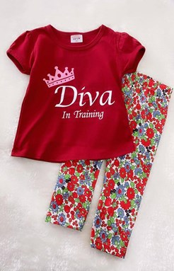 Girl Set Diva In Trading With Flower Pant (9/12m - 5y)