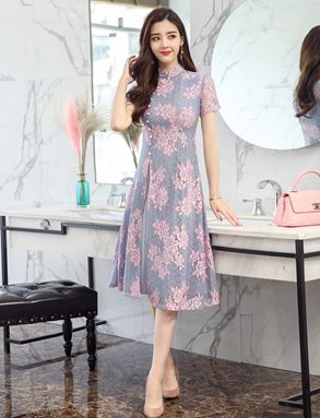 Retro Floral Lace Cheongsam Dress