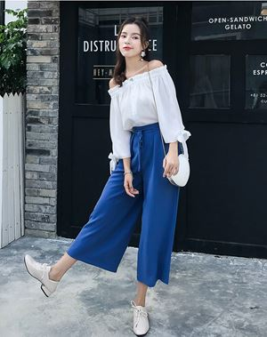 Two-piece Suit (Off Shoulder Blouse + Wide Pants)