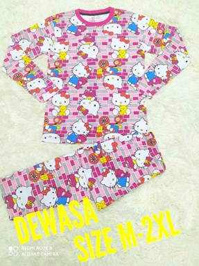 Pyjamas HELLO KITTY PINK BRICK : Size DEWASA M - 2XL