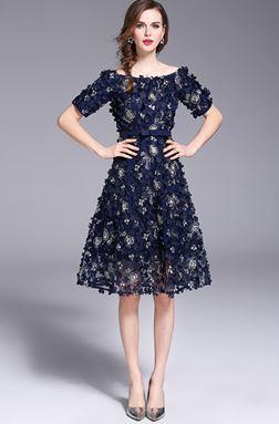 Off Shoulder Embroidery Flower Dress
