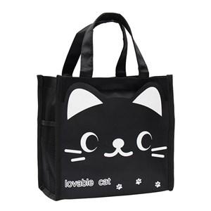 Hand Carry Cartoon Lunch Bag ( BLACK LOVABLE CAT )