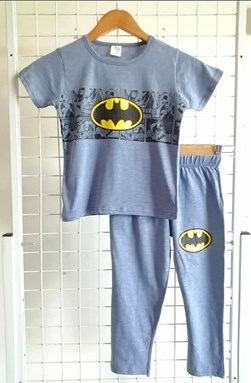 Pyjamas PLAIN BATMAN Dusty Blue - Short Sleeve 1/2y dan 5/6y
