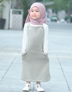 ADELINE OVERALL DRESS IN OLIVE GRAY (KIDS)