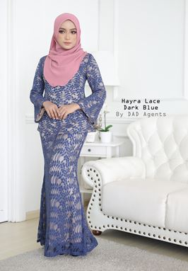 Kurung Hayra Lace Dark Blue