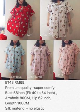 ET43 *Ready Stock *Bust 40 to 54inch/102-137cm
